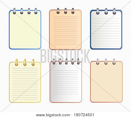Icon of notebook in six variants. Tear-off notepad on the rings with lines and without them. icon in flat style on the white background. Horizontal. Isolated.