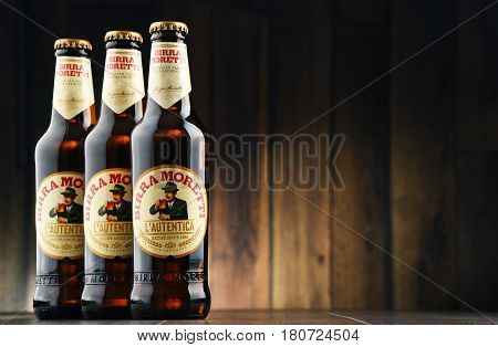 POZNAN POLAND - MAR 31 2017: Birra Moretti Italian brewing company founded in Udine in 1859 by Luigi Moretti now owned by Heineken International