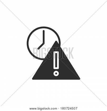 Exclamation point and clock icon vector filled flat sign solid pictogram isolated on white. Expired symbol logo illustration. Pixel perfect