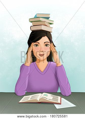 Young female student with a pile of books on her head. Digital illustration, drawn with a graphic tablet.