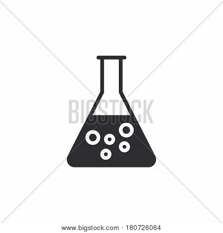 Flask beaker icon vector filled flat sign solid pictogram isolated on white. Chemical laboratory glassware symbol logo illustration. Pixel perfect
