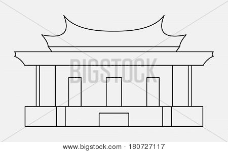 Vector illustration of the sign of Chinese philosophy thin line icon of the Temple of Confucius.