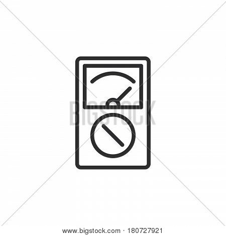Analog multimeter line icon outline vector sign linear style pictogram isolated on white. Symbol logo illustration. Editable stroke. Pixel perfect