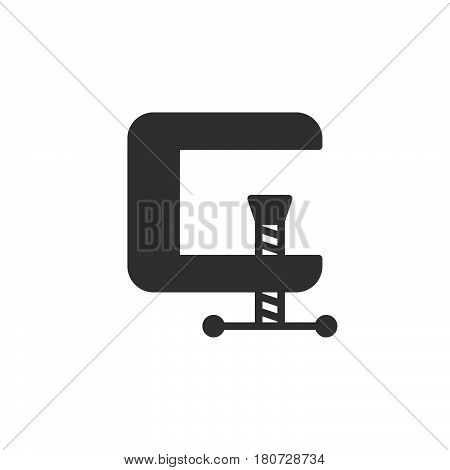 C-clamp icon vector filled flat sign solid pictogram isolated on white. Compress symbol logo illustration. Pixel perfect