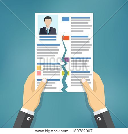 Hands holding ripped CV profile. Rejected resume.