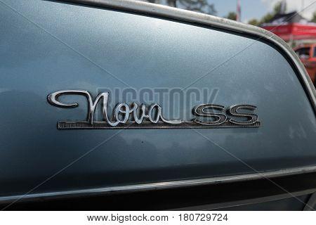 Chevrolet Nova Ss Emblem On Display