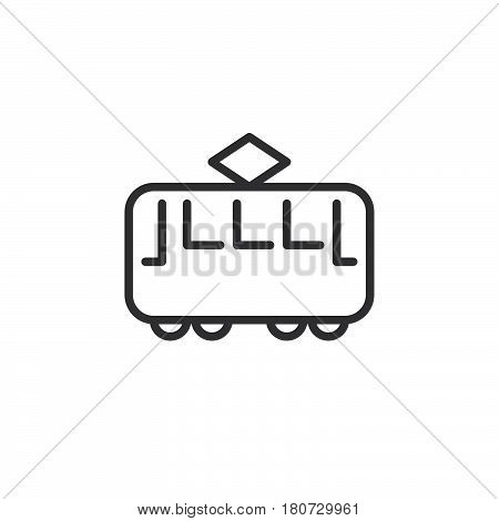 Tram line icon outline vector sign linear style pictogram isolated on white. Streetcar symbol logo illustration. Editable stroke. Pixel perfect
