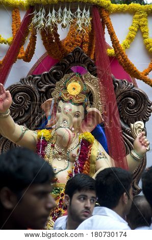 Lord Ganesha Procession Three: Procession of Lord Ganesha on Anant Chaturdashi Day.