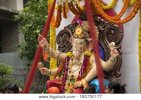 Lord Ganesha Procession Four: Procession of Lord Ganesha on Anant Chaturdashi Day.