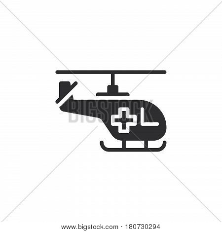 Helicopter with cross icon vector filled flat sign solid pictogram isolated on white. Air ambulance symbol logo illustration. Pixel perfect