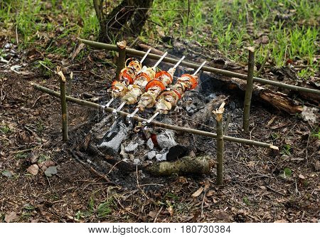 Appetizing shish kebab with tomatoes and onions roasted on skewers. Skewers with skewers lay on a makeshift grill made out of sticks and natural materials.