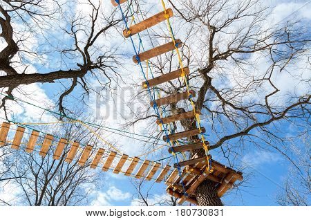 Obstacle course for training against the blue sky in the park
