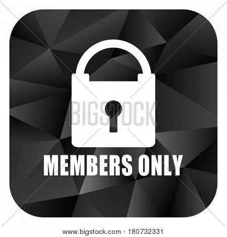 Members only black color web modern brillant design square internet icon on white background.