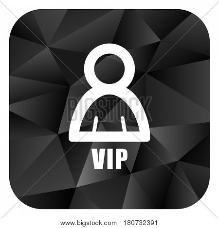 Vip black color web modern brillant design square internet icon on white background.