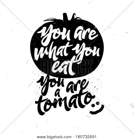 You are what you eat. You are a tomato ;) - humorous quote with sketch of tomato. Healthy food themed joke.