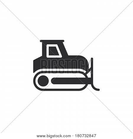 Bulldozer crawler icon vector filled flat sign solid pictogram isolated on white. Symbol logo illustration. Pixel perfect