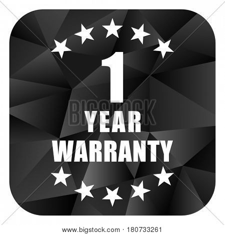 Warranty guarantee 1 year black color web modern brillant design square internet icon on white background.