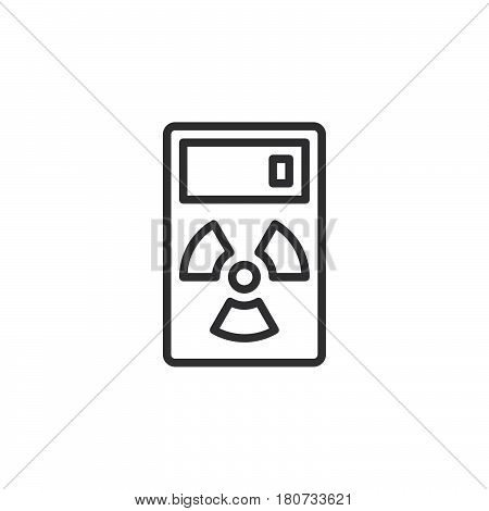Geiger counter line icon outline vector sign linear style pictogram isolated on white. Radiation measurement device symbol logo illustration. Editable stroke. Pixel perfect