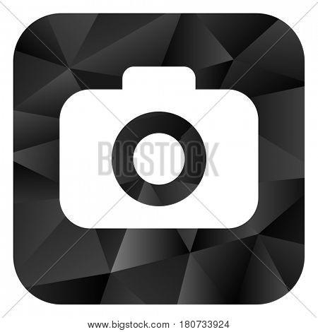 Photo camera black color web modern brillant design square internet icon on white background.