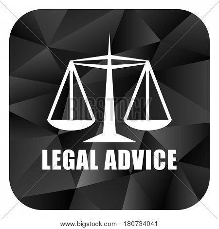 Legal advice black color web modern brillant design square internet icon on white background.