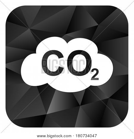 Carbon dioxide black color web modern brillant design square internet icon on white background.