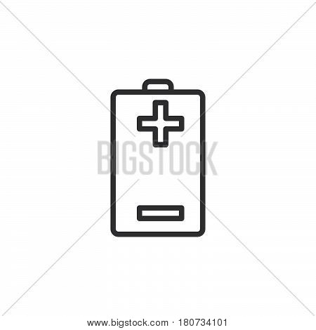 Battery plus minus line icon outline vector sign linear style pictogram isolated on white. Symbol logo illustration. Editable stroke. Pixel perfect