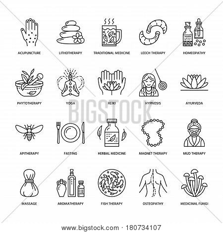 Alternative medicine line icons. Naturopathy, traditional treatment, homeopathy, osteopathy, herbal fish and leech therapy. Thin linear signs for health care center.