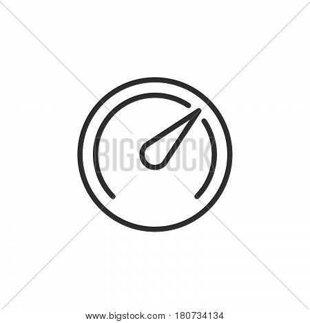 Speedometer Gauge line icon outline vector sign linear style pictogram isolated on white. Symbol logo illustration. Editable stroke. Pixel perfect