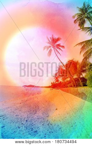 Retro photo of watercolor palm trees on a tropical island