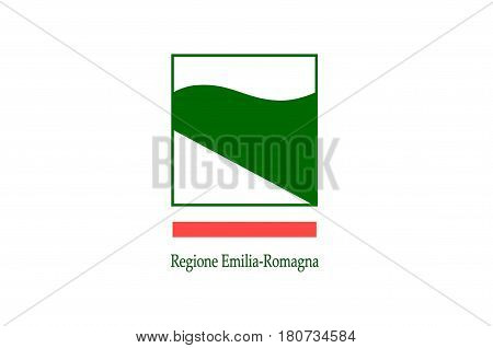 Flag of Emilia-Romagna is an administrative Region of Northern Italy. Vector illustration