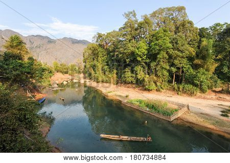 The River At The Village Of Ban Kong Lo On Laos