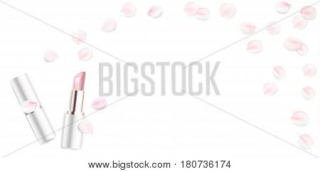 Fashion accessories collection. Lipstick with rose flower petals. Spring style organic cosmetics background. White and pink soft color romantic vector illustration design.