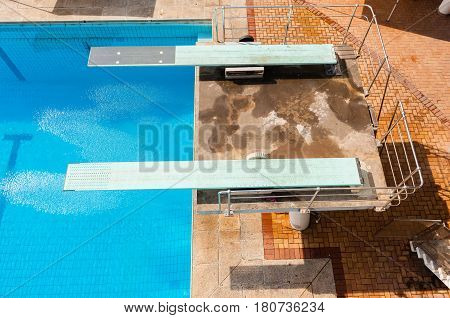Diving boards swimming pool aquatic sport outdoors.