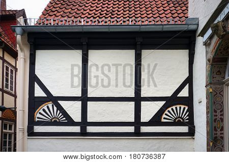 Wall of old medieval building in Bremen Germany.