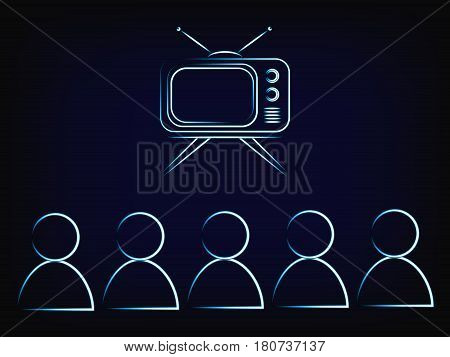 People Or Family Watching Tv, Retro Style