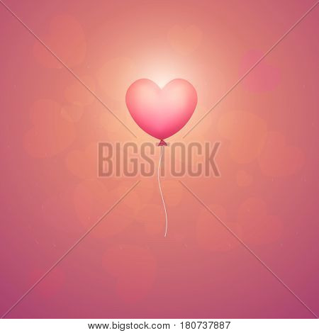 baloon in the shape of heart. vector illustration