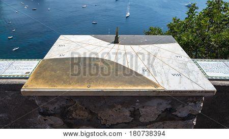 Capri Italy - August 31 2016: Sundial of Capri located in the Gardens of Augustus