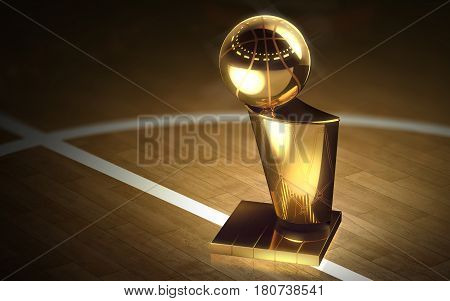 Golden basketball cup on a dark background. 3D rendering