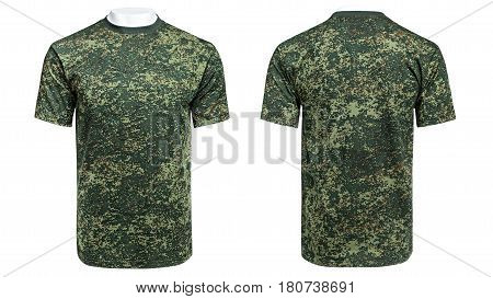 Mannequin in military T-shirt, camouflage shirt, isolated white background