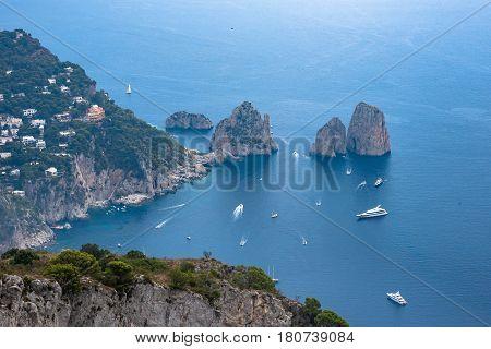 Aerial view of faraglioni rocks from Monte Solaro on Capri Island Italy