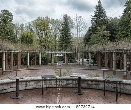 Garden in art deco style period of last century called roaring Twenties very important artistically in Europe and America