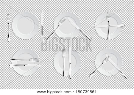 Vector realistic cutlery and signs of table etiquette. Catering facilities isolated icons. Set of of forks, table knives and plates. EPS10 illustration of tableware for cafes, restaurants etc.