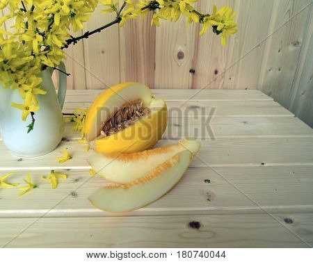 Melon and bouquet of a Forsythia. The melon and a Forsythia are on a wooden table