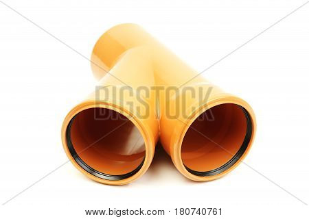 Red plastic sewer pipe, isolated on white