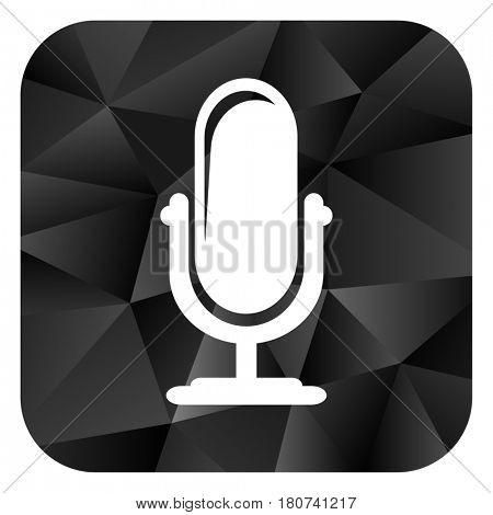 Microphone black color web modern brillant design square internet icon on white background.