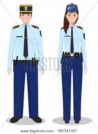 Couple of french police people isolated on white background. Set of policeman and policewoman standing together. Cute and simple in flat style.