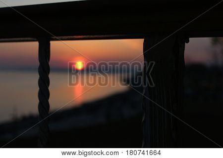 sunset, nature, landscape, railings, love, romantic, autumn