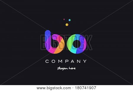 Bo B O  Colored Rainbow Creative Colors Alphabet Letter Logo Icon