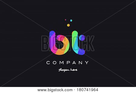 Bt B T  Colored Rainbow Creative Colors Alphabet Letter Logo Icon