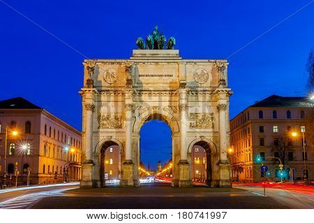 A triumphal arch Siegestor in the night illumination. Munich. Bavaria.